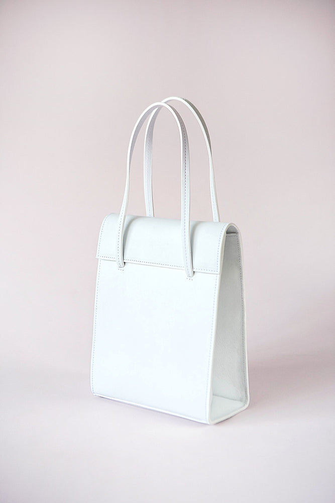 white leather handbag, cow leather, frita bag, Blame Lilac