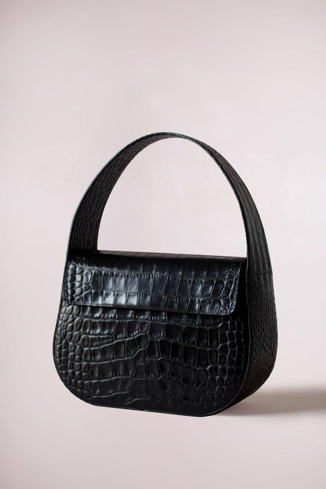 black cesta handbag, croc-embossed cow leather, removable long strap, Blame Lilac