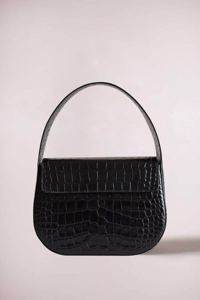 Load image into Gallery viewer, black cesta handbag, croc-embossed cow leather, removable long strap, Blame Lilac