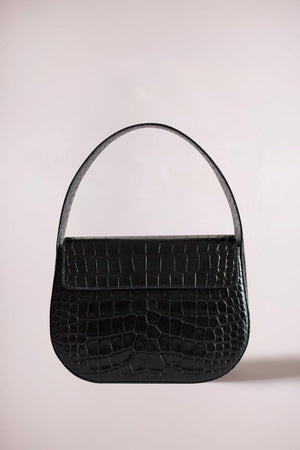 Blame Lilac structured handbag crafted in croc-embossed cow leather