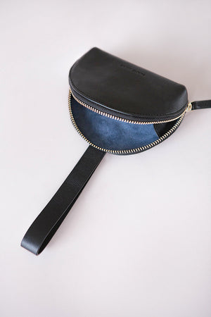 Load image into Gallery viewer, black manica purse, cow leather, coin and card purse, Blame Lilac