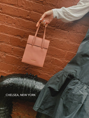 Load image into Gallery viewer, mini frita bag nude, cow leather mini frita bag, crossbody shoulder and hand carry options bag, new york Blame Lilac