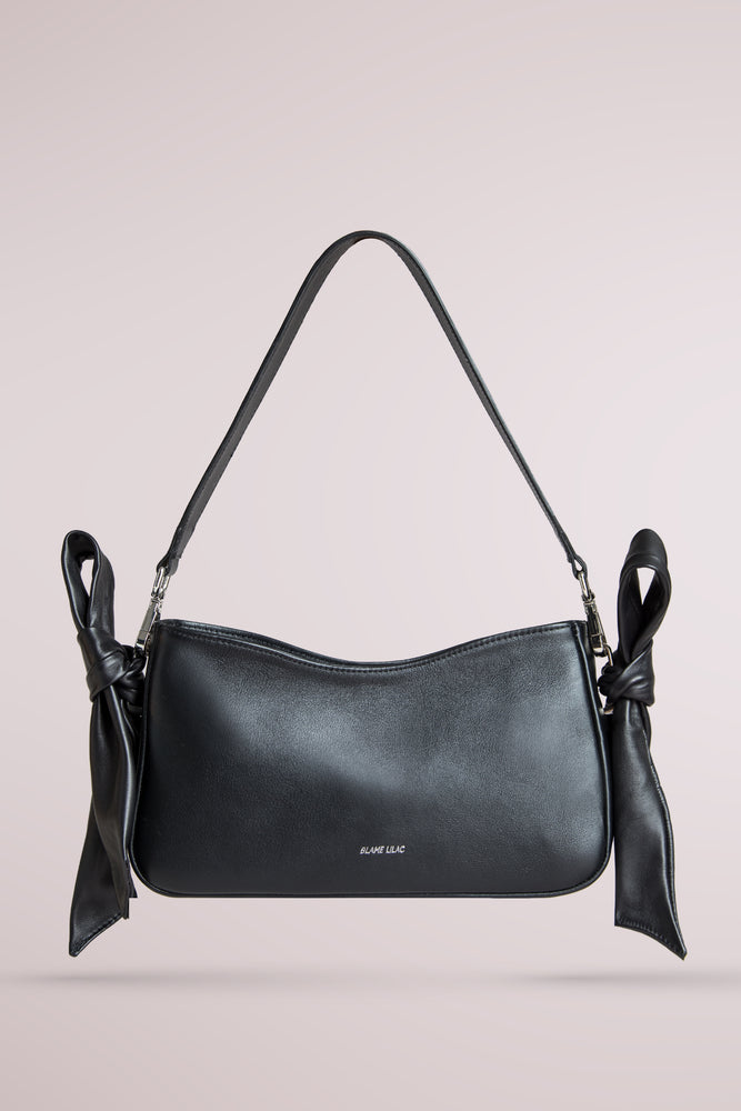 BLAME LILAC, QUERIDA SHOULDER BAG WITH KNOTS BLACK, LAMBSKIN AND COW LEATHER, REMOVABLE STRAP, MINI BAG