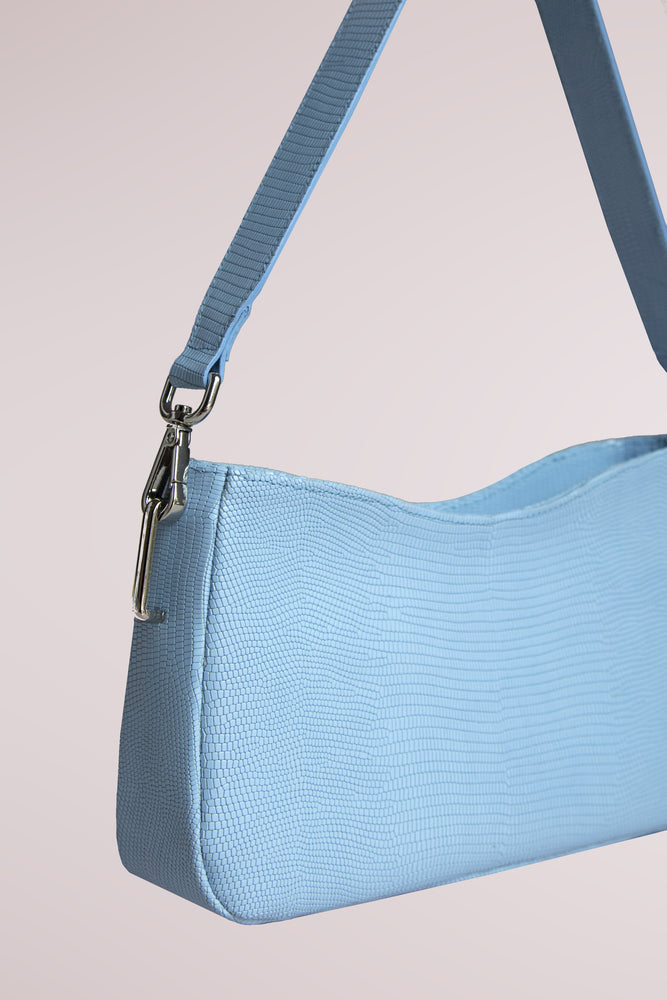 BLAME LILAC, QUERIDA SHOULDER BAG WITH KNOTS SKY BLUE, LAMBSKIN AND COW LEATHER, REMOVABLE STRAP, MINI BAG