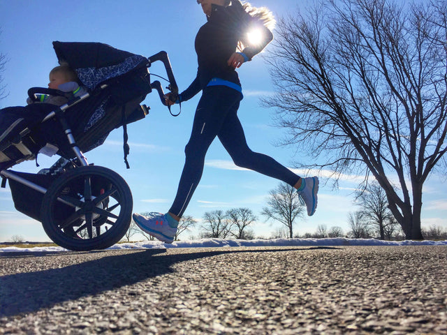 Sarah FitzPatrick running with the Mountain Buggy Terrain Stroller