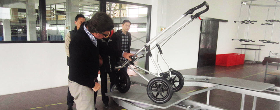 CEO in factory inspecting new buggy frame