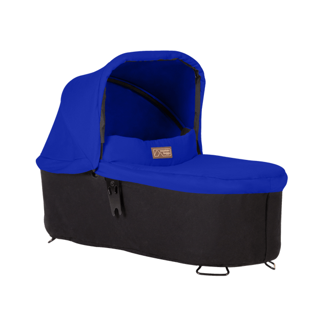 mountain buggy pre-2019 carrycot plus for swift and mini in lie flat mode 3/4 view shown in color marine_marine