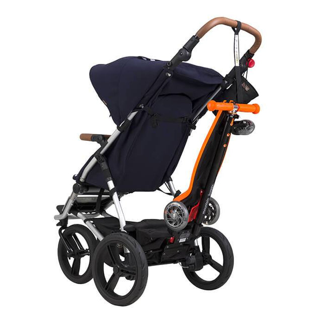 mountain buggy freerider scooter is easy to store on your buggy_orange
