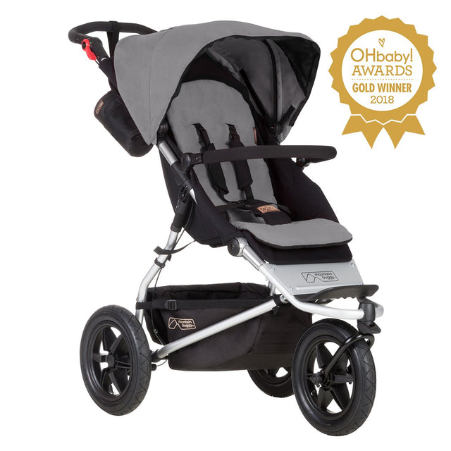 mountain buggy urban jungle all-terrain buggy OHbaby awards logo 3/4 view shown in color silver_silver