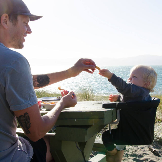 mountain buggy pod portable high chair attached to a picnic table outside enjoying a healthy snack_lime