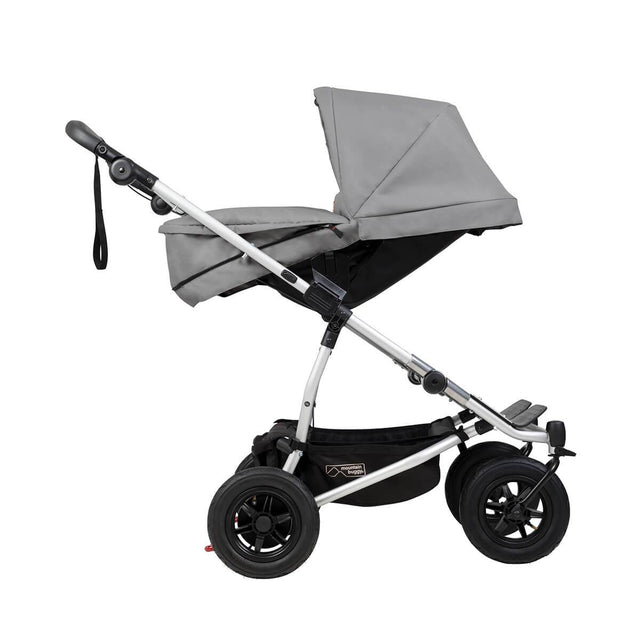 mountain buggy duet double buggy with two carrycot plus in parent facing mode side view shown in color silver_silver