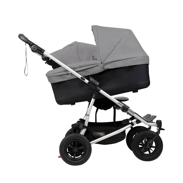 mountain buggy duet double buggy with one carrycot plus in incline mode side view shown in color silver_silver