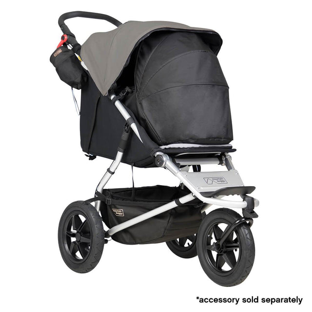 mountain buggy urban jungle all-terrain buggy with newborn cocoon 3/4 view shown in color silver_silver