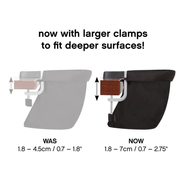 mountain buggy pod portable high chair in flint grey colour v3 to v2 comparison_flint