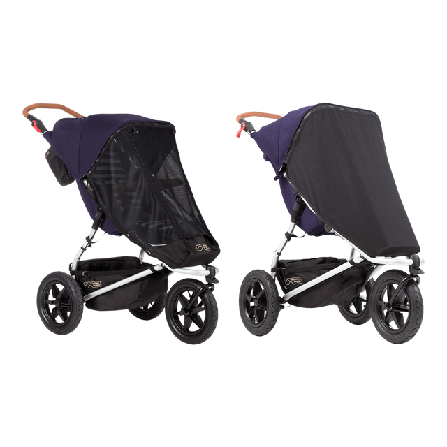 Mountain Buggy sun mesh cover set with black out cover on an urban jungle luxury stroller in colour nautical_default