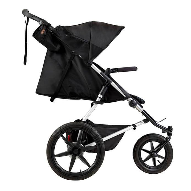 Mountain Buggy terrain stroller in onyx black colour has full recline mode for newborns side view_onyx