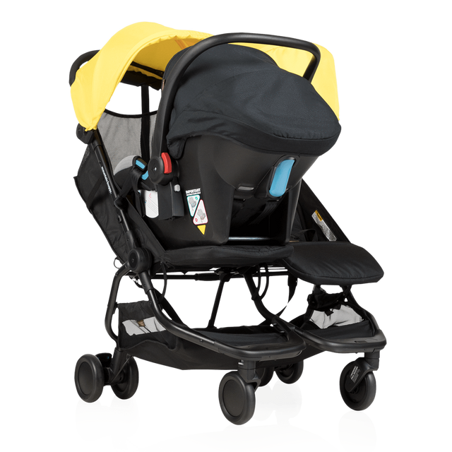 Mountain Buggy nano duo double lightweight buggy fitted with protect car seat in colour cyber_cyber