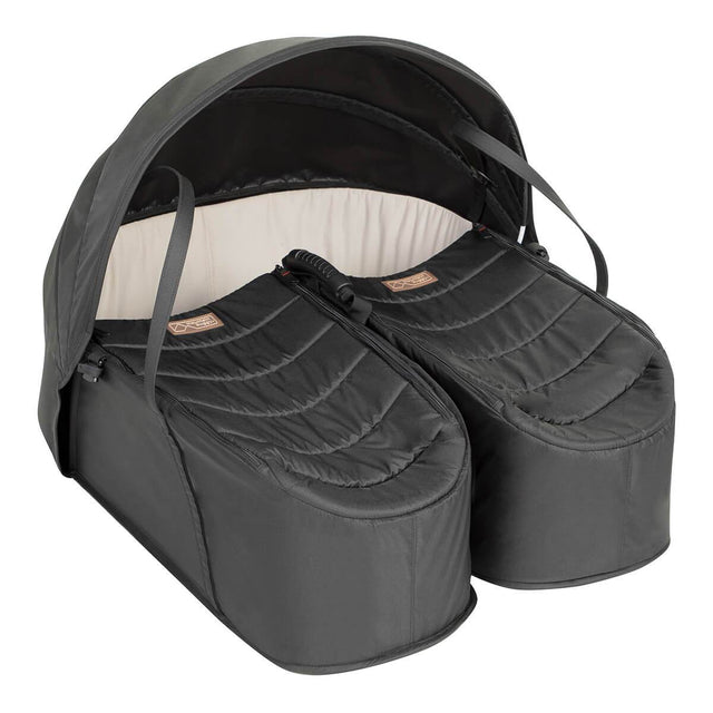 Mountain Buggy® cocoon™ for twins shown from side with sun hood in place_black