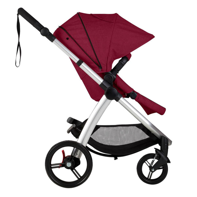 Mountain Buggy cosmopolitan 4 wheel modular buggy in with extended hood in colour bordeaux_bordeaux