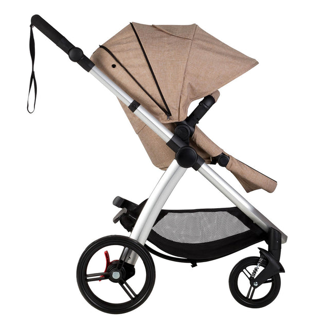 Mountain Buggy cosmopolitan 4 wheel modular buggy in with extended hood in colour mocha_mocha
