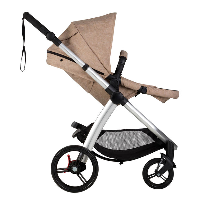 Mountain Buggy cosmopolitan 4 wheel modular buggy in with main seat reclined in colour mocha_mocha