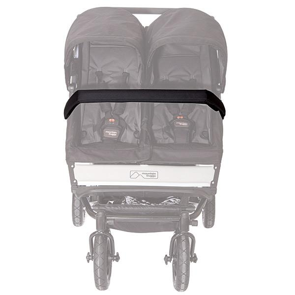 Mountain Buggy replacement duet bumper shown attached to buggy in black_black