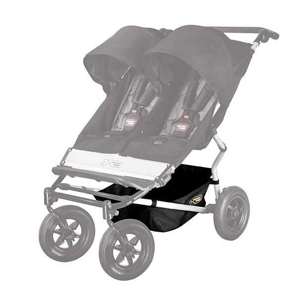 Mountain Buggy replacement duet buggy parcel tray shown on buggy for correct position in colour black_black