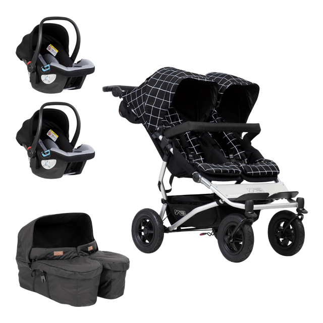 Mountain Buggy duet buggy travel sysetm bundle showing stroller carrycotplus for twins and 2 protect infant car seats as part of bundle