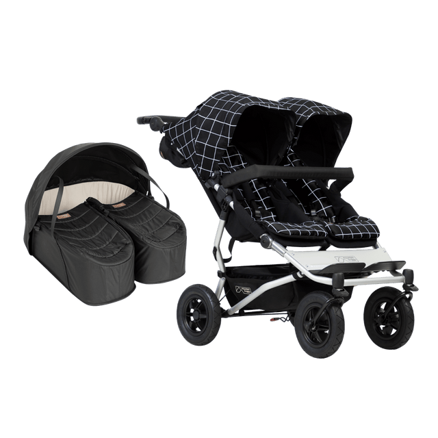 Mountain Buggy duet stroller with cocoon for twins bundle showing both items as a package