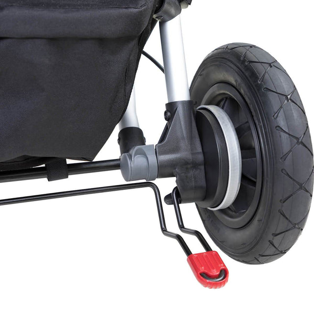 Mountain Buggy duet double buggy close up of foot brake in colour black_black