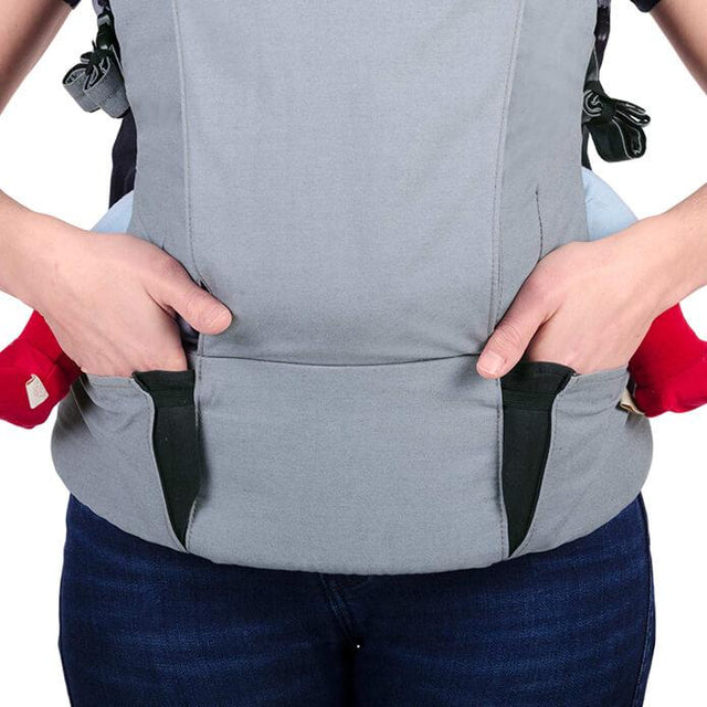 mountain buggy juno baby carrier in charcoal grey colour as storage pockets_charcoal