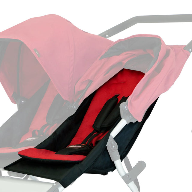 Mountain Buggy replacement seat fabric for duet buggy shown on left hand side installed on biggy frame in black_black