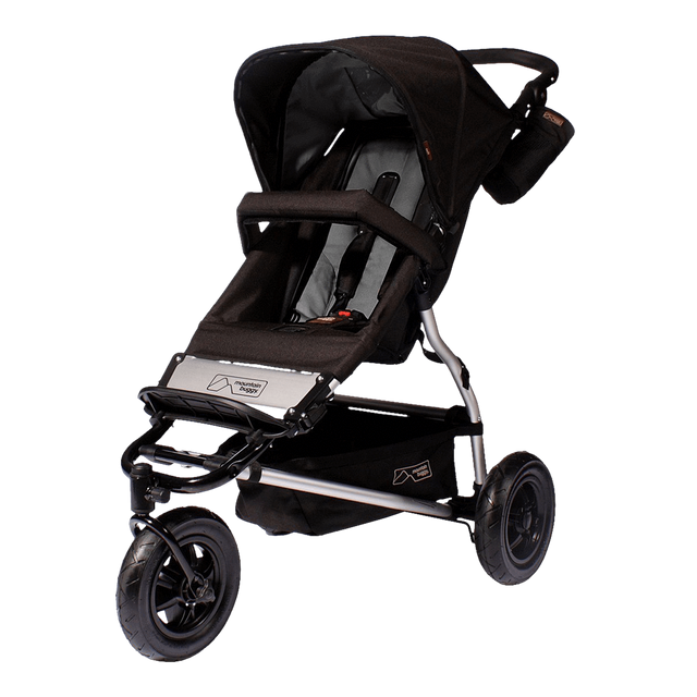 Mountain Buggy legacy urban jungle buggy seat fabric set shown on buggy frame in grey flint_flint