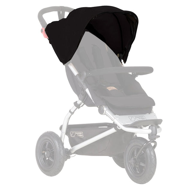 Mountain Buggy replacement sunhood for MB mini and duet buggies shown in black_black