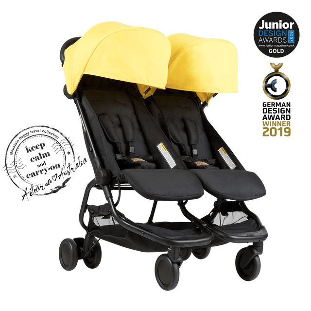 Mountain Buggy nano duo double lightweight buggy in colour cyber with KCCO logo_cyber