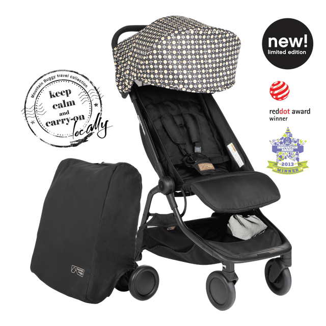 award-winning mountain buggy nano buggy with included travel satchel in new 2021 limited edition year of the ox print 3quarter angle_year of ox