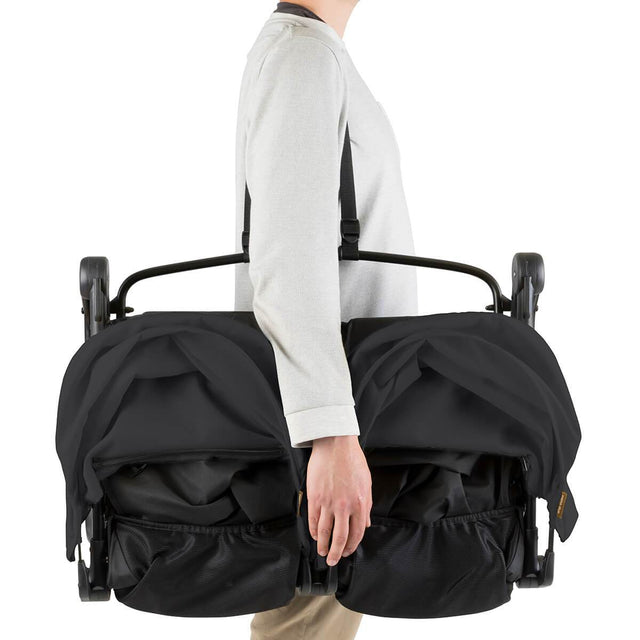 Mountain Buggy nano duo double lightweight buggy with shoulder strap in colour black_black