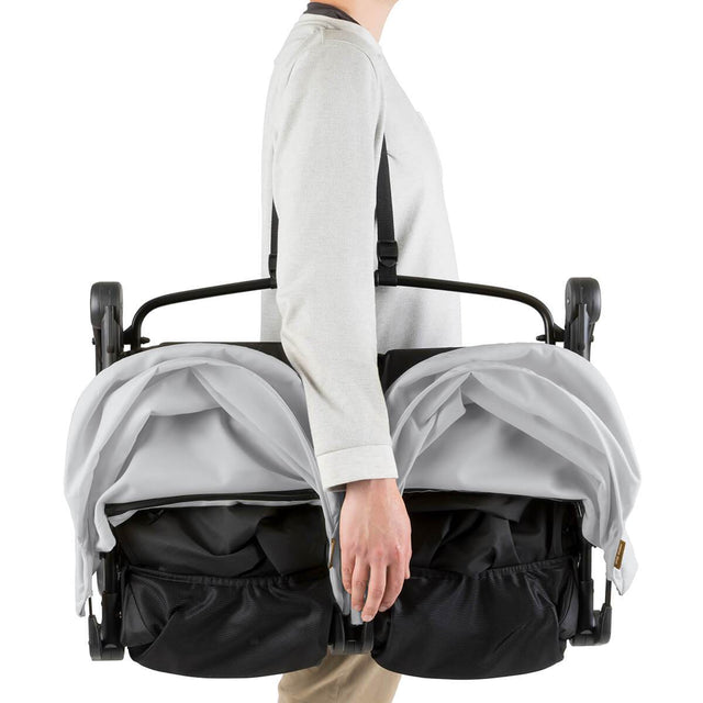 Mountain Buggy nano duo double lightweight buggy with shoulder strap in colour silver_silver