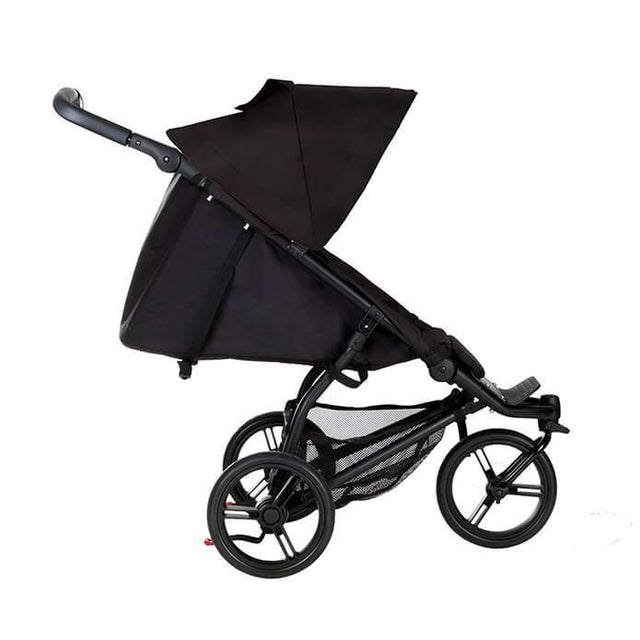 Mountain Buggy mini stroller in black colour in lie flat mode side view_black