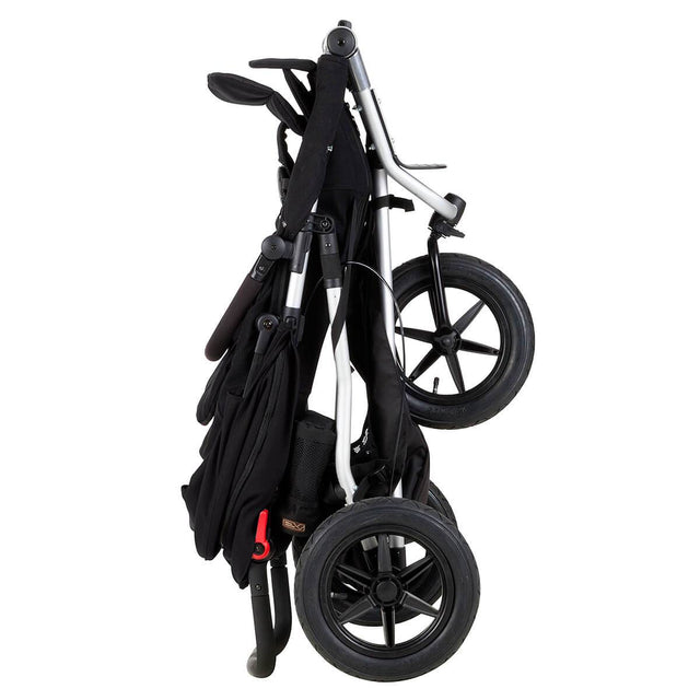 Mountain Buggy +one stroller in black colour folds down compactly_black