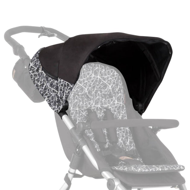 Mountain Buggy replacement sunhood for terrain stroller shown attached to buggy in colour grey graphite_graphite