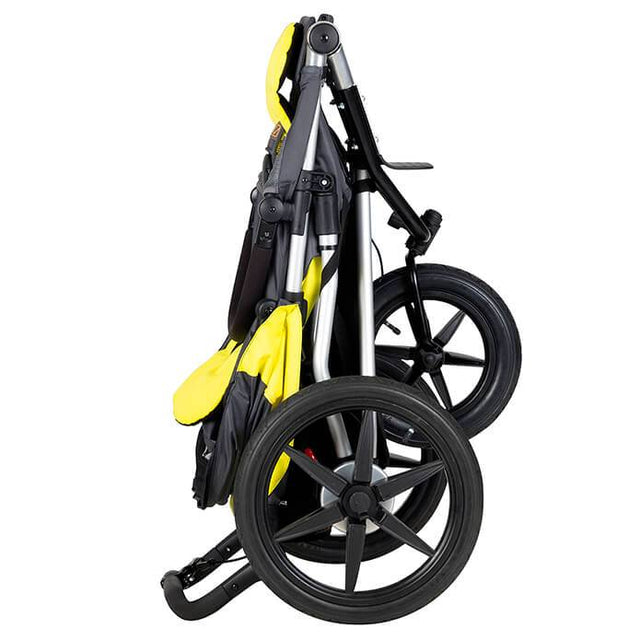 Mountain Buggy terrain stroller in yellow and black solus colour folds down compactly_solus