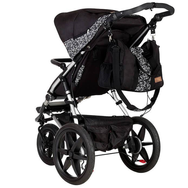 Mountain Buggy terrain stroller in black and white graphite colour with matching back and white graphite satchel_graphite
