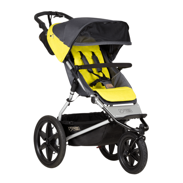 Mountain Buggy terrain stroller in yellow and black solus colour has an extendable sun visor_solus