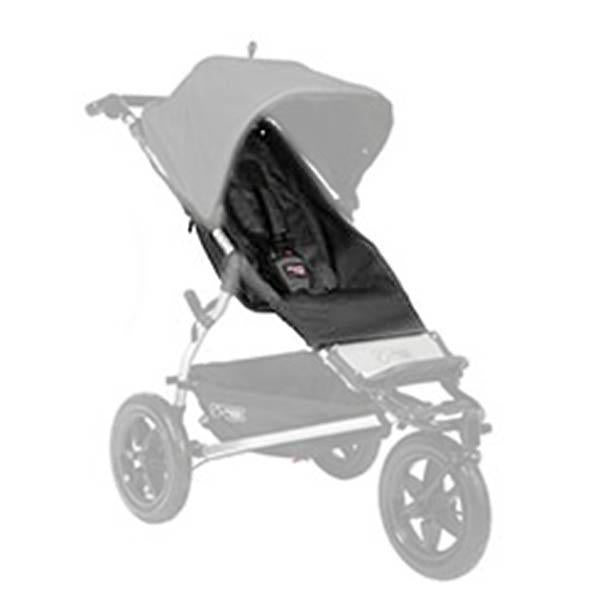 Mountain Buggy legacy urban jungle buggy seat fabric set shown on buggy frame in black _black
