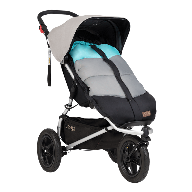 Mountain Buggy durable soft peach lined sleeping bag fitted to an urban jungle in colour ocean_ocean