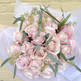 French Hand-tied Bouquet of 2 Dozen Pink Roses
