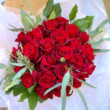 French Hand-tied Bouquet of 2 Dozen Red Roses