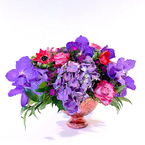 The Aphrodite - romantic design of purples and pinks in a pink footed bowl
