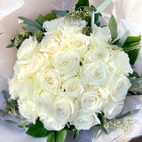 French Hand-tied Bouquet of 2 Dozen White Roses